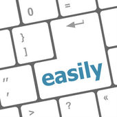 Easile word on keyboard key, notebook computer button — Foto de Stock