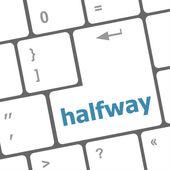 Halfway word on computer pc keyboard key — Stock Photo