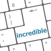 Incredible word on computer pc keyboard key — Foto de Stock