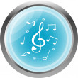 Music round glossy web icon on white background — Stock Photo