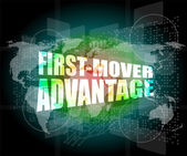 First mover advantage words on digital touch screen interface — Stock Photo