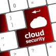 Cloud security concept showing cloud icon on computer key — Stock Photo #43682425