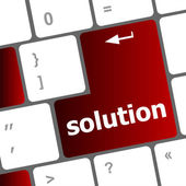 Wording solutions on computer keyboard key button — Стоковое фото