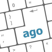Ago message on enter key of keyboard keys — Zdjęcie stockowe