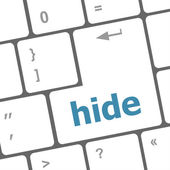 Hide word on computer pc keyboard key — 图库照片
