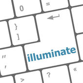 Computer keyboard with word illuminate on enter button — Stock Photo