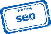 SEO, search engine optimization stamp isolated on white background — Stock Photo