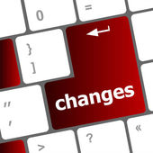 Changes words on keyboard keys — Stock Photo