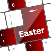 Easter text button on keyboard keys — Stock Photo