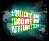 Equilty in income of affiliates words on digital screen — Stock Photo