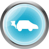 Car icon on the round web button isolated on white — Stock Photo