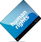 Social media concept: media player interface with human rights word — Stock Photo
