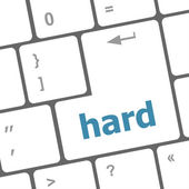 Computer keyboard with words hard on enter button — Zdjęcie stockowe