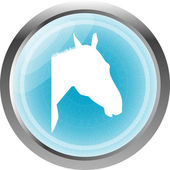 Horse sign button, web icon isolated on white — Foto de Stock