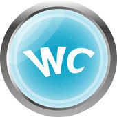 Wc icon, web button isolated on white — Stock Photo