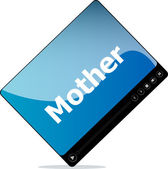 Social media concept: media player interface with mother word — Stock Photo