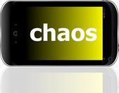 Smartphone with word chaos on display, business concept — Stock Photo