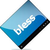 Social media concept: media player interface with bless word — Stock Photo