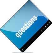 Video movie media player with questions on it — Stock Photo