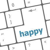 Happy word on computer pc keyboard key — ストック写真