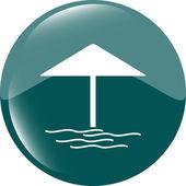 Beach umbrella on web icon (button) isolated on white — Stock Photo