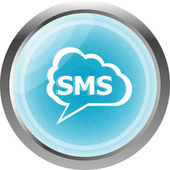 Sms glossy web icon isolated on white background — Foto Stock