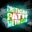 Critical path method words on digital screen with world map — Stock Photo #44627935