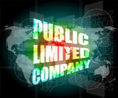 Public limited company on digital touch screen — Stock Photo