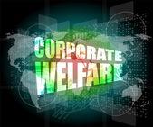 Corporate welfare word on business digital screen — Stock Photo