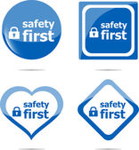 Secure lock sign label, safety first icon button — Stock Photo