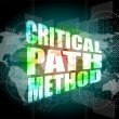 Critical path method words on digital screen with world map — Stock Photo #44707959