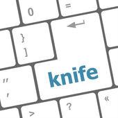 Knife word word on computer keyboard keys — Stock Photo