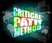 Critical path method words on digital screen with world map — Zdjęcie stockowe