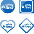 Secure lock sign label, safety first icon button — Stock Photo #44710601