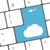 Cloud computing concept on computer keyboard — Foto de Stock