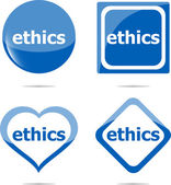 Stickers label set business tag with ethics word — Stock Photo