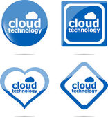 Cloud technology icon, label stickers set isolated on white — Stock Photo