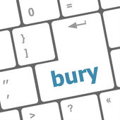 Bury word on computer keyboard key — Stock Photo