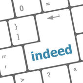 Inderdaad woord op computer pc toets op het toetsenbord — Stockfoto