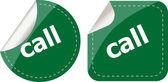 Call word stickers set, web icon button — Stock Photo
