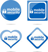 Mobile security stickers label tag set, web icon — Stock Photo