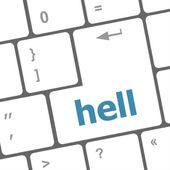 Mot d'enfer sur la touche du clavier pc ordinateur — Photo