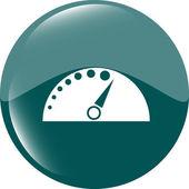 Automotive tachometer on web button (icon) isolated on white — Stok fotoğraf