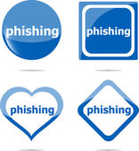 Phishing word with lock on stickers set, web icon — Stockfoto