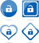 Stickers instellen met open lock, veiligheidsconcept — Stockfoto