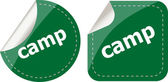 Camp word stickers set, web icon button — Stock Photo