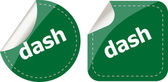 Dash word stickers web button set, label, icon — Stock Photo