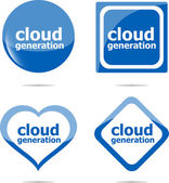 Cloud generation icon, label stickers set isolated on white — Stock Photo