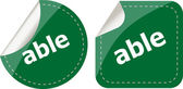 Able word stickers set icon button isolated on white — Stock Photo