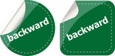 Backward word on stickers button set, label — Stock Photo